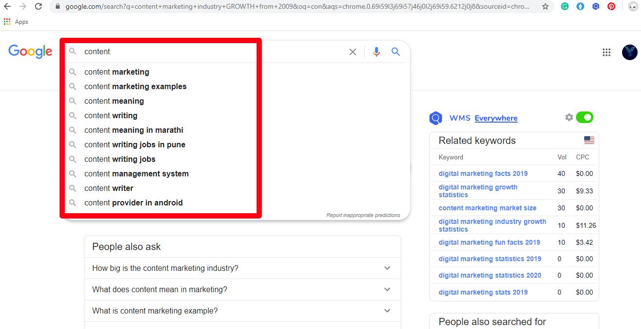 google seaarh suggestion