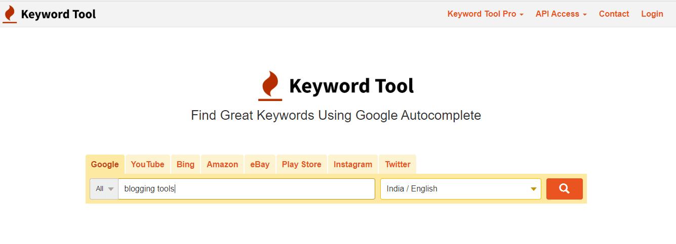 keywordtool.io Free Blogging Tools
