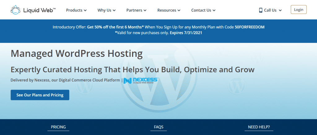 Image of liquid web hosting free trial offer page