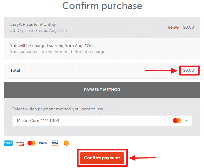 Image of Namecheap free trial offer page